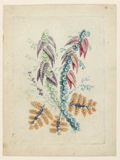 Two crossed imaginative flowering branches of leaves and blossoms in varying colors