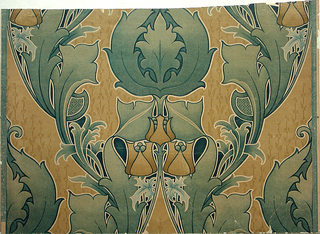 Foliate design in art nouveau style. Large green leaves, on brownish yellow ground. At the center of the major motif are three stylized blossoms in brownish yellow. Drop match.