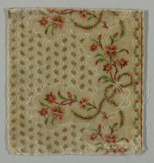 """Small-patterned or """"miniature"""" velvet with a border design. Ground has small continuous lozenges, each enclosing a minute flower in red and green. Border design of slender sprays of red and pink flowers and green feathery foliage. Design outlined by voided ground, which is covered by secondary pale blue silk weft."""