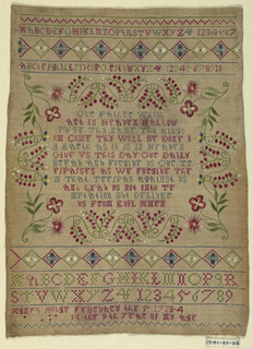 "Alphabets, numerals, ""Agnes Hodge, February the 5 1723-4 in the 9th year of my age"" and the Lord's Prayer surrounded by a floral frame."