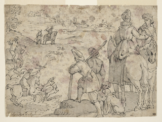A woman and man on horseback converse, as a hunt takes place in the left middle distance. Two figures and two dogs in the foreground. Horseman with falcon at left.