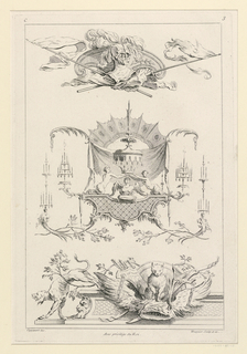"Three different ornamental compositions in sequence. The first: military trophies; second: derived from grotesque with central figures: two women crowning a winged bust. The third: two dogs on a pedestal among grotesque ornaments. Inscribed, upper left: ""C""; upper right: ""3""; lower left: ""Oppenort inv.""; lower right: ""Huquier sculp. et ex.""; center: ""Avec privilege du Roi""."