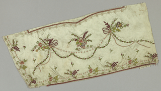 Fragment of man's waistcoat in pale green satin embroidered in multicolored silks in a design of flowering vines, floral sprays, baskets of flowers, and ribbons.