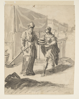Street scene depicting two classical male figure, one with a sword and beard, the other handing the first three loaves of bread.