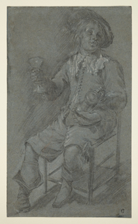 A young cavalier, seated on a straight chair facing half left, holds a wine glass in his left hand and a tankard in his right, resting in his lap.