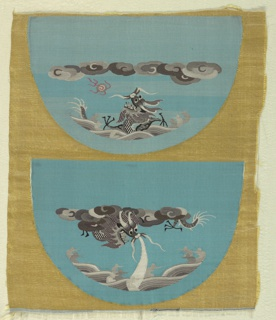 Uncut pieces for costume accessories have a yellow and blue ground with two half circles containing dragons, clouds, waves, and a flaming pearl in many shades of gray with dark pink lines.