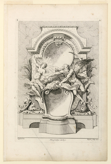 "A decorative filling of a rectangular field: a female allegorical figure and allegorical figure of Time against an arched molding flanking a pedestal with voluted top. Inscribed, upper left: ""3""; upper right: ""A""; lower left: ""oppenort inv.""; center: ""Avec privilege du Roy""; lower right: ""Huquier sculp. et ex""."