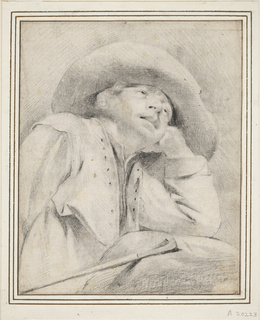 A boy, wearing a broad-brimmed hat, is shown half-length, turned half right. He rests his elbow on a rock, head leaning on his left hand, and gaze directed upward. Beside him is his staff.