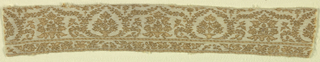Shawl border fragment with a horizontal repeat of two variants of vase and flowers in twining framework of stems with small leaves and flowers. Scrolling floral guard band with decorated guard strip above and below. In pale tan with slightly darker outlines and accents on a beige ground. One raw end, one plain loom ending, and reinforced selvedges on long sides.