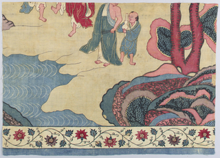 Fragment of a larger panel showing figures in Asian-style dress.