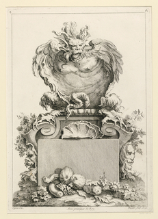 "A fantastical animal, a satyr-like creature, above a pedestal decorated with masks, shells, fruits, etc. Inscription, upper left: ""4""; upper right: ""A""; lower left: ""oppenort in.""; center: ""Avec privilege du Roy""; lower left: ""Huquier sculp. et ex."""