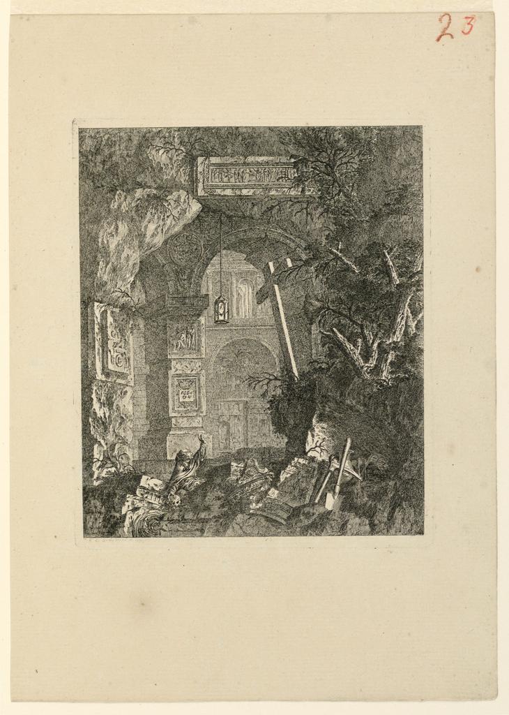 Print, Saint-Francois (?) dans un paysage de ruines, 1768, published 1770