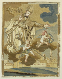 Bishop and two angels looking down from the clouds to bless an Italian town that is on a river by the sea. The angels and the bishop's hands and face were painted on paper which was then cut out and pasted on the picture. Details of the town were painted in by brush. Uncounted stitches.