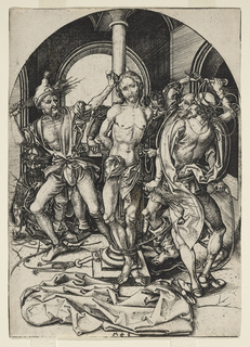 Christ is at center being flagellated by men surrounding him. At left, a man kneels to retrieve a crown of thorns.