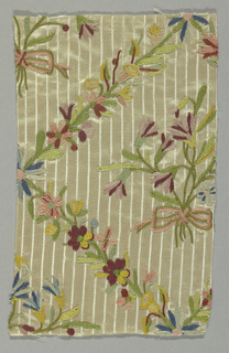 White satin with stripe, ornamented with embroidery (chain stitch) in colored silks; design, a bunch of flowers within diagonals of flowers.
