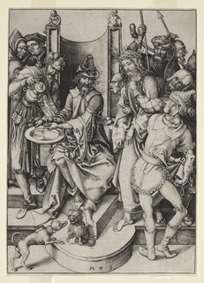 Christ is seen at right, wearing a crown of thorns, held by a group of soldiers. Pilate sits on his high chair, slightly to left of center, facing the viewer. He washes his hands in a basin held by his servant, at left. Two dogs in foreground.