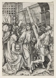 Christ is shown in the center of the composition, carrying the cross. He moves toward the right, followed by a large crowd, and preceded by a man holding a rope attached to the waist of Christ.