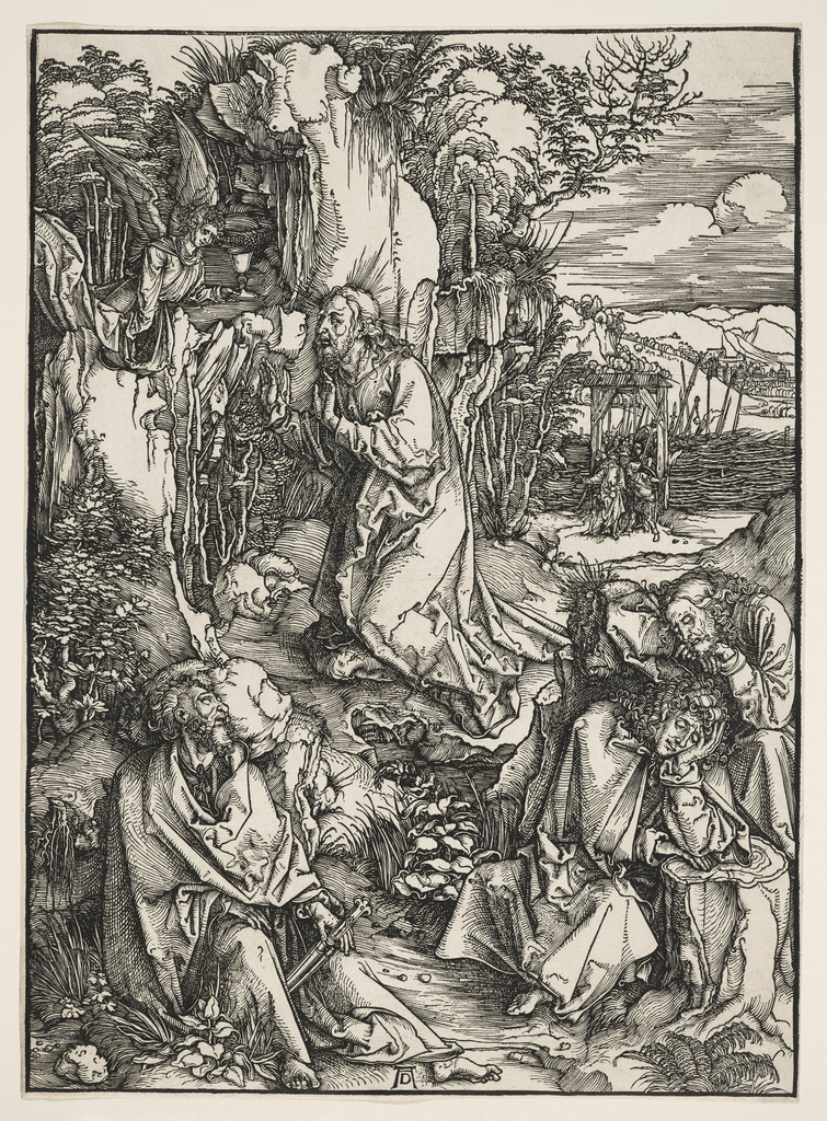 Christ is represented on His knees, facing left, in center middle ground. Two apostles sit asleep at lower right, and another at lower left. An angel at upper left. In the distance, right, Judas leads a group of soldiers through an entrance gate.