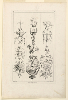 "Three ""candelabra-like"" arrangements of various motifs, characterized by: first, Diana with her dog; second: a rooster; third: three putti with musical instruments. Inscribed, upper left: ""D""; upper right: ""2""; lower left: ""Oppenort inv.""; center: ""Avec privilege du Roi""; lower right: ""Huquier sculp. et ex."""