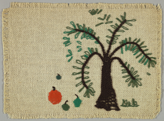 Place mat of white burlap emboridered in shades of green, brown and red in stylized design of a tree and apple.