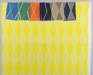 Design of tangent diamonds in tone-on-tone colors; a is bright yellow printed with white, b is black and deep blue, and c is medium and light brown. Samples a and c have additional small samples showing alternate colorways attached to the top.