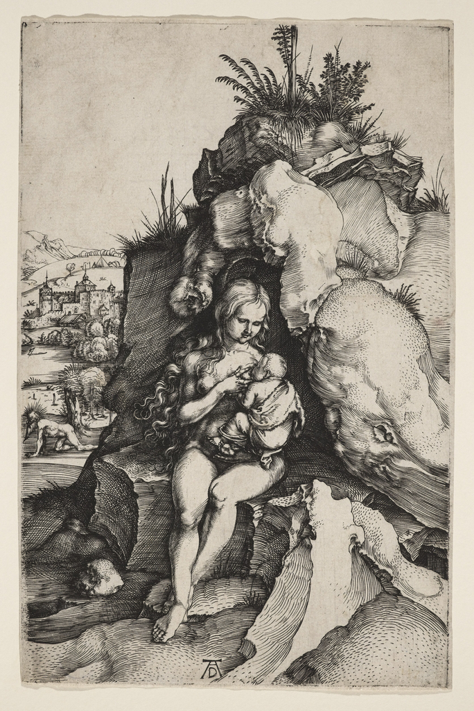 A woman (S. Genevieve) is represented nude and seated on the ledge of a large rock, nursing a child held in her left arm. In the background, left, S. John Chrysostom is shown walking on all fours, as mark of penance.