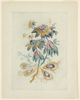 A boquet of fantastical flora, including drop-shaped, feather-like leaves, delicate, fern-like tendrils, and blossoms.