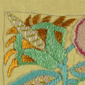 Upholstery sample in stylized flowers designed in a square of multi-colors and stitches on yellow. Pencil drawn square around design.