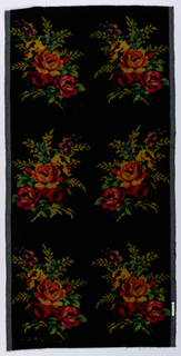 "Black ground with six multi-colored floral bouquets printed on the warp. An attempt to copy ""Velours Grégoire."""