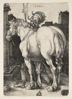 The large horse stands in the foreground, facing left; behind him stands a soldier, wearing a helmet and holding a halberd; the ruins of a building are visible in the background.