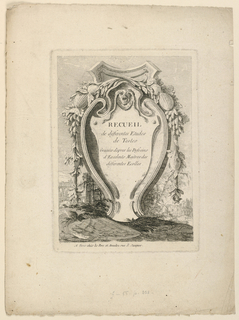 "An escutcheon stands in a landscape with classical ruins. Printed on it: ""RECUEIL / de differentes Etudes / de Testes / Gravées d'apres les Desseins / d'Excellens Maitres des / differentes Ecolles""; signed, bottom left, on a stone slab: ""J Legeau inv. Et. Sculp."" Bottom Margin: Another signature of Le Geau's is hardly visible, and the address of a publisher deleted. Instead: ""A Paris chés Le Pere et Avaulez rue S. Jacques."""