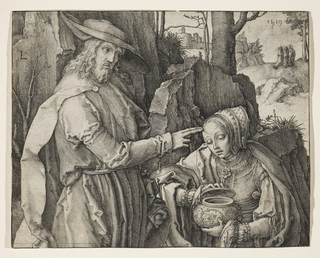 Christ and Mary Magdalene are shown as three-quarter length figures in the foreground, before a rocky formation marking the entrance to the sepulcher. Christ stands at left, wearing a large brimmed hat. With two fingers of his right hand he touches the forehead of Magdalene, bowing her head before him. She holds a vase in her left hand, lifting the cover with her right.