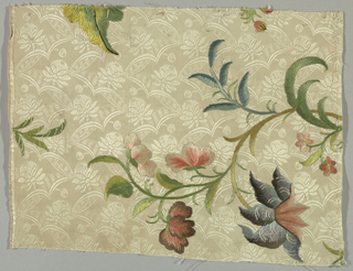 White silk tabby, brocade-patterned, embroidered in colored silks, large scale serpentine floral design. Stem and long-short satin stitch.