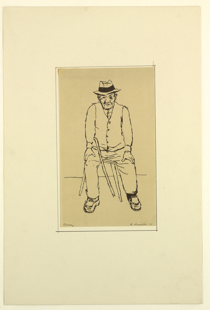 Portfolio of 9 sketches (nineth sketch on portfolio), Portrait of a man