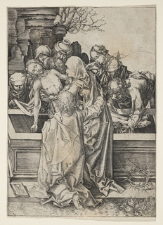 The Disciples place the body of Christ in the tomb. One of them, left, supports Him about the waist; another, right, holds the legs. In the foreground, St. John is on his knees, his back to the viewer. He places his arm about the Virgin, who is standing beside him.