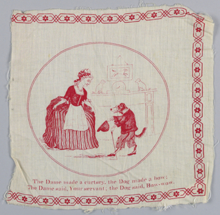 Text of a nursery rhyme and an illustration on the text in red on white.
