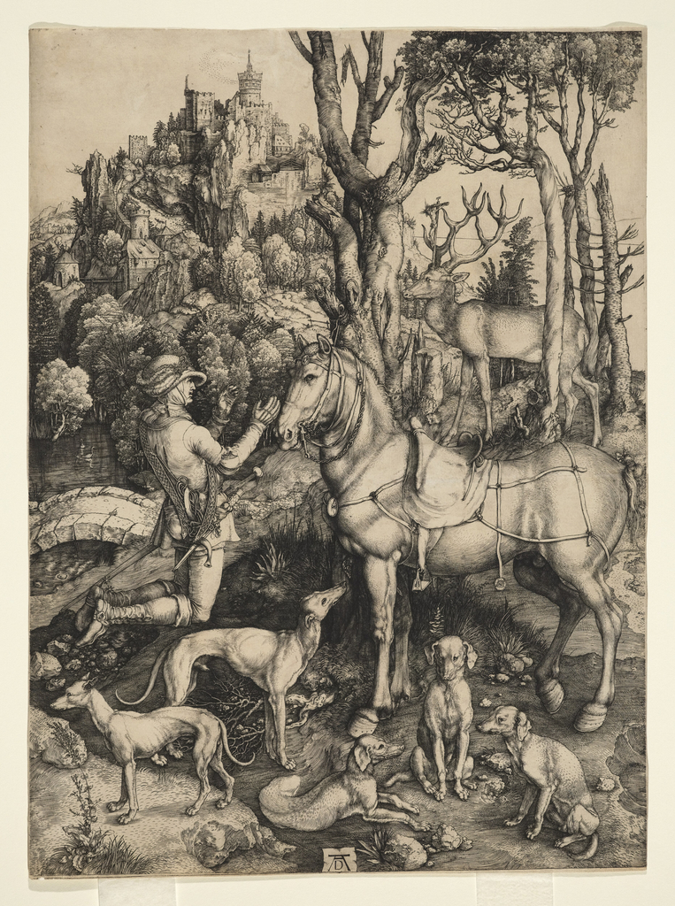 """In a wooded landscape St. Eustace, with horse and hounds, is seen in right profile kneeling in attitude. of devotion. In the right middle distance appears the stag with the crucifix protruding from the horns.  on a simulated parchment sheet, bottom center, is the monogram """"A D"""""""