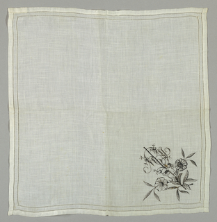 "Handkerchief with two rows of hemstitching at border and embroidery in design of two cherubs, floral spray and the initials ""MMB."""