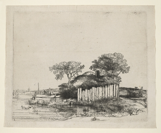 Print, Cottage with a white paling