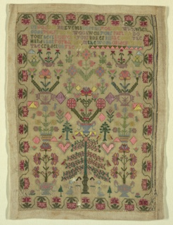 At bottom center, Adam and Eve are flanking a large tree. Directly above the tree is a basket of flowers. On either side, urns with flowering trees, embroidered in bright colors, are symmetrically arranged to completely cover the ground. A verse is embroidered in varied colors at the top, and a stylized floral border surrounds all.  The verse reads:  On God for all events depend you cant want when Gods your friend weigh well your part and do your best leave to your maker all the rest the  Hand that formd thee in the womb guides from  The cradel (sic) to the tomb