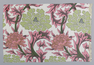 Incomplete design of large scale flowers and foliage in pink, brown, dark green and light green on white.