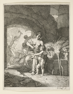 Venus is shown putting arrows into a quiver held by Cupid. Behind her is a pile of warfare implements. In the background, three figures hammer at the forge.
