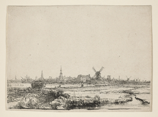 View of Amsterdam at horizon; in foreground, a meadow.