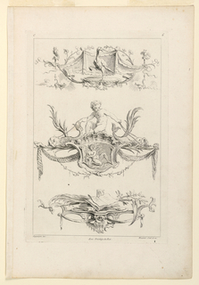 "Three ornamental compositions in sequence characterized by: First, a stork-like bird on a console; second, a putto with two dolphins on an upright shell; third, books, writing material on a console. Inscribed, upper left: ""C""; upper right: ""6""; lower left: ""Oppenort inv.""; center: ""Avec privilege du Roi""; lower right: ""Huquier scul. et ex."""
