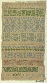 """Ten cross borders (geometric and floral designs) with alphabet and initials """"M.W."""""""