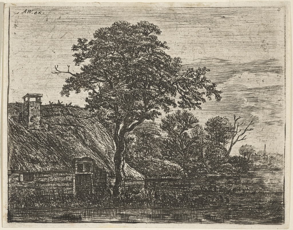 A thatched cottage behind a large tree, left, on the edge of a swamp; a church spire in right distance, seen in evening light.