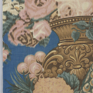 Peacocks on a balustrade with fruit and flowers.