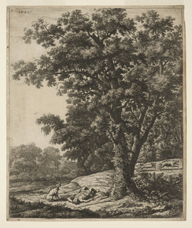 In foreground, left, lies dead Adonis, his dog sits next to him and laments. Next to him a large tree behind which is a boar followed by two dogs at right. The ground descends towards left. A fence surrounding trees seen at left middle distance.