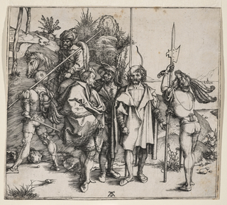 Six soldiers in a landscape; three wear mantles, and a fourth, right, leans on his halberd. Left, one armed with a lance, walks beside a Turk on horseback.