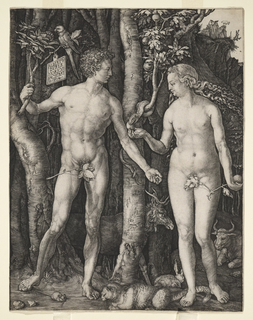 Adam stands at left, Eve, right, with tree between.  Eve holds the apple, receiving it from the serpent.  Adam holds a branch of the tree in his right hand, bearing a parrot and tablet inscribed: ALBERTVS DURER NORICVS FACIEBAT.